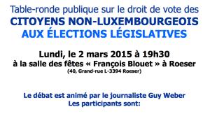 Table Ronde: droit de vote des citoyens non-luxembourgeois. Org.:La Commission Consultative Communale d'Intégration de la commune de Roeser