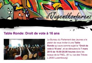 Table Ronde: Droit de vote à 16 ans, org.: CGJL