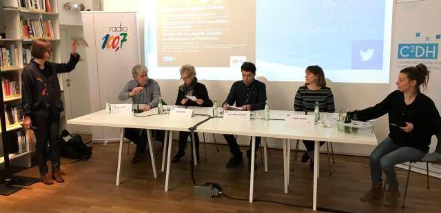 Table ronde avec Andreas Fickers (Luxembourg Centre for Contemporary and Digital History, C2DH), Josée Kirps (Archives Nationales), Jean-Marie Ottelé (industrie.lu), Joëlle Weis (Université du Luxembourg) ainsi que d'autres invités.